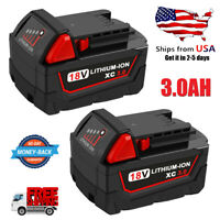 2x For Milwaukee M18 18-Volt Lithium-Ion XC Extended Capacity Battery Pack 3.0AH