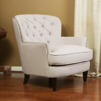 Alfred Contemporary Deep Button Tufted Fabric Club Chair with Nailhead Accents