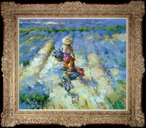 "Oil painting original Art Impressionism Landscape Flower girl on canvas 20""x24"""