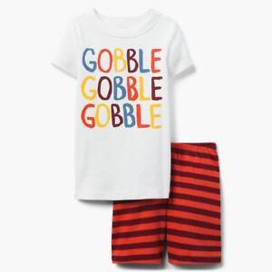 NWT Gymboree Gobble Gymmies Pajama Set Boy Thanksgiving Holiday Shortie Shorts