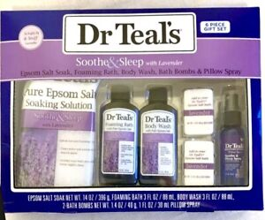 Dr Teal's Soothe & Sleep 6 pc Lavender Bath & Body Gift Set Six Piece Purple Box