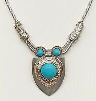 Vintage Silver Tone/Turquoise/Tribal/Egyptian/Shield Pendant/Choker/Necklace
