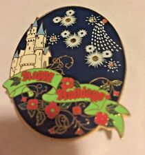 Happy Holidays Light-Up Mickey Mouse Fireworks & Castle Disney Pin . New Battery