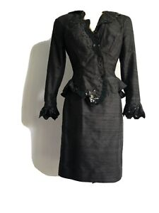 Vintage Saint Romei black and white leopard silk 2pc skirt suit extra small