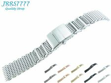 20mm Watch Bracelet Stainless Steel Silver Shark Mesh Diving Deployment Classic