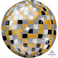 "ANAGRAM GOLD SILVER & BLACK DISCO BALL 15"" ROUND ORBZ BALLOON"