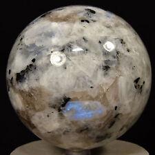 "3.5"" Rainbow Moonstone Sphere w/ Tourmaline Blue Flash Natural Mineral - India"