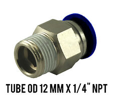 """1 Lot of 10 Male Straight Connector Push In Fitting Tube OD 12 mm x 1/4"""" NPT"""