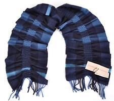 NEW BURBERRY 100% CASHMERE PETROL BLUE NOVA CHECK RUCHED SCARF MUFFLER