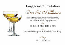 Champagne Glasses Engagement Invitation Cards - 50 invites