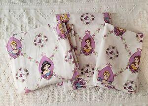 Disney Princesses Purple Twin Sheet Set 3 pc Flat Fitted Pillow Case EUC!