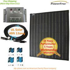 COMPLETE KIT Super Black 80w 80 Watt Mono Solar Panel 12v Battery Global Ship