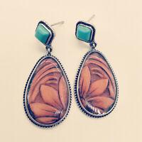 Handmade Water Drop Turquois Jasper Gemstone Vintage Silver Stud Hook Earrings