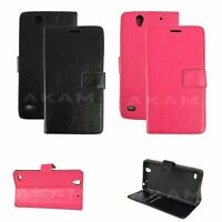 PU Leather Book Wallet Flip Case Cover For Sony Xperia C4 E5303 With Card Slots