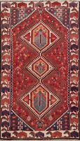 Semi Antique Hand-knotted Geometric Bakhtiari Area Rug Wool Tribal Carpet 4x7 ft