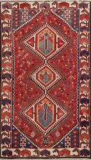 Semi Antique Hand-knotted Geometric Bakhtiari Area Rug Wool Tribal Carpet 4x7 ft