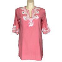 Key Lime Pink XL Tunic Top Peach Pink White Embroider Bead Embellish Shirt Long