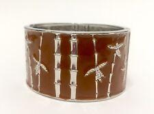 EnamelBrown Bamboo Women's Cuff Bracelet / Stainless Steel