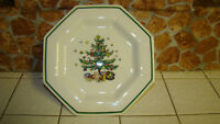 "Nikko Christmastime Salad Plate 8"" Christmas Tree octagonal Made in Japan"