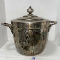 Vintage Ice Bucket  William Wm Rogers Silverplate 661 Glass Lined Insulated