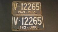 Vintage 1963 Ohio License Plate Pair Blue and White V12265