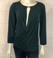 Anne Klein Women's Faux Wrap Blouse Top Size S Teal Blue Green Career
