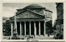 Primi '900 Roma Pantheon facciata esterno piazza carrozza FP B/N ANIM
