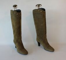 Khaki Suede NILSON Pull On Studs Round Toe Mid Calf Knee High Boots Size 4 / 37