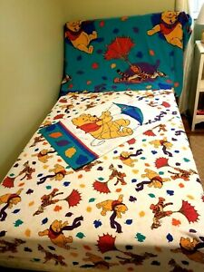 Vintage Disney Winnie Th Pooh Twin Sheet Set Fitted Flat Pillowcase Blustery Day