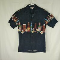 Pacific Legend Mens Black Hawaiian Shirt Med - Made in the USA Beer Bottles