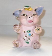 Vintage Pink Piggy Bank Rhinestones Taiwan