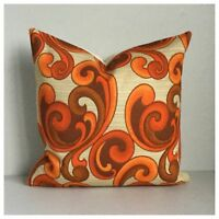 """Orange Cushion Cover Groovy 70s Psychedelic Vintage Fabric  16"""" VW"""
