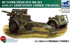 Bronco 1/35 QF 25pdr Field Gun Mk.II/I w/No.27 Ammunition Limber #35046