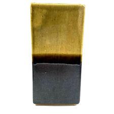 Stoneware Retro Rectanglular Vase Olive Green Slate Grey Metallic Ombre Habitat