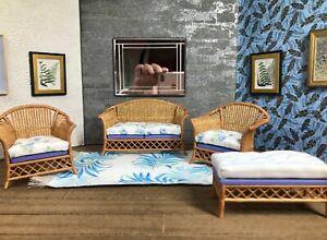 1:12 Dollhouse cane rattan living room set sofa armchair blue roses