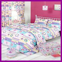 Girls Patchwork Butons Bedroom Collection Duvet Sets Curtains Bin Shade Storage