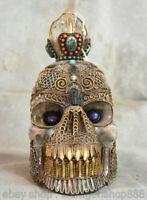 """8 """"cristal tibétain en filigrane pierres Statue de tête crâne squelette humain"""