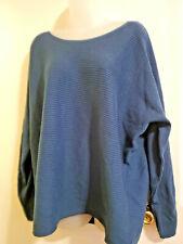 Women's LANE BRYANT 22/24 Blue Scoop Ribbed Sweater Long Sleeve