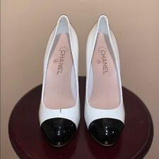 Chanel White & Black Patent Leather Heel Pumps 40 10