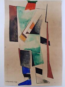 Russian Avant Garde Painting Suprematism Scketch Sign Alexandr Rodchenko 1920