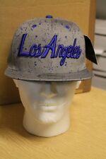 KB Ethos Grey/Blue Los Angeles Snapback Flat Peak Baseball Hat/Cap
