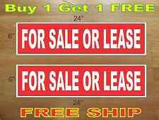 """White on Red FOR SALE OR LEASE 6""""x24"""" REAL ESTATE RIDER SIGNS Buy 1 Get 1 FREE"""