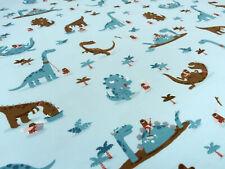 Stoff Baumwolle Jersey Dinos Dinosaurier hellblau braun türkis bunt Kinderstoff
