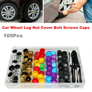 105Pcs Plastic Car Wheel Nut Bolt Cover Caps Lug Dustproff Bolt Rims Tire 17mm