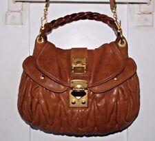 MIU MIU Leather Handbag Brown MATELASSE Coffer Noce Purse Hobo Shoulder Bag