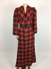 Vintage 50's Women's Dress Maxi Plaid Long Sleeve Bell Sleeves Party Green B30