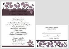 100 Personalized Custom Purple Vine Wedding Invitations Set