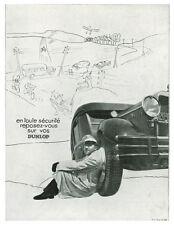 Publicité ancienne pneus Dunlop sécurité 1933 issue de magazine