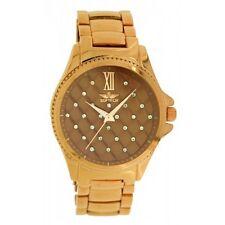 Softech Women's Rose Gold Plated Brown Diamante Face Metal Watch Analog Quartz