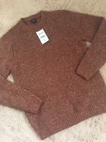 Mens NEXT Chunky Warm Fleck Knit Jumper Pullover Sweater Size UK Medium Brown